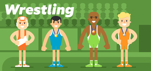 Wrestling team in the awarding of a gold, a silver and a bronze medal flat vector illustration. The Olympic sport.