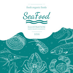 Sea food cover vector