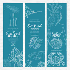 Sea food banners blue template for menu hand drawn vintage