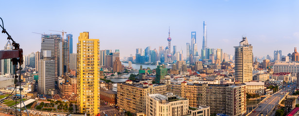 Wide panoramic view of Shanghai Skyline.