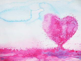 heart love tree for wedding, valentines day, watercolor painting