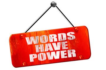 words have power, 3D rendering, vintage old red sign