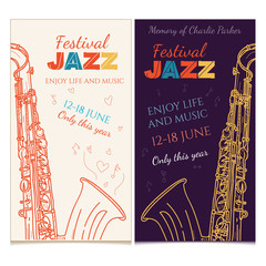 Jazz music banner saxophone live music jazz festival invitation