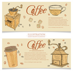 Coffee banner hand drawn vector illustration