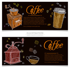 Coffee vintage banners hand drawn vector