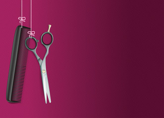 Hanging Scissors Comb Purple Background