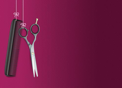 Hanging Scissors Comb Purple Background