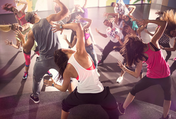 group of dancers at Zumba fitness training.