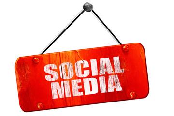 social media, 3D rendering, vintage old red sign