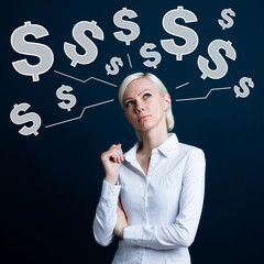 Business woman thinking about web dollar currency social network