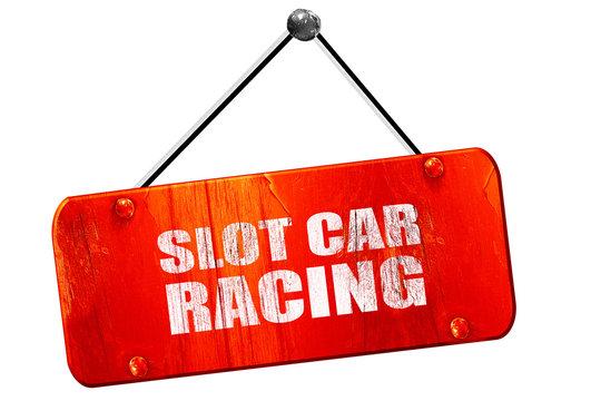 slot car racing, 3D rendering, vintage old red sign