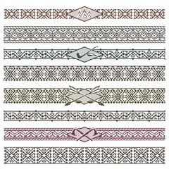 Ethnic native american border patterns. Tribal dividers vector illustration