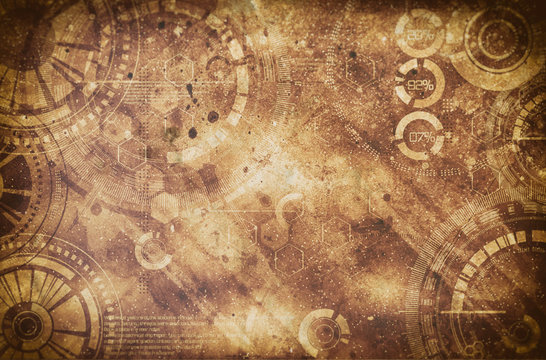 Steampunk grunge background, steam punk elements on dirty back