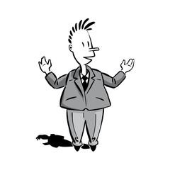 cartoon figur männchen hände hochhaltend