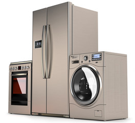 Home appliances, refrigerator, washing machine and a gas stove