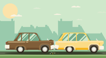 Car crash. Two cars hit. Flat design.