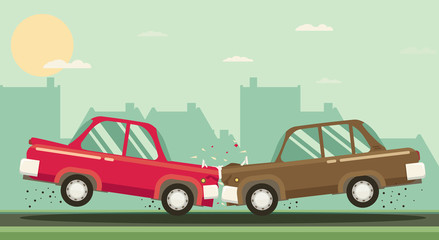 Car crash. Two cars hit head-on. Flat design.