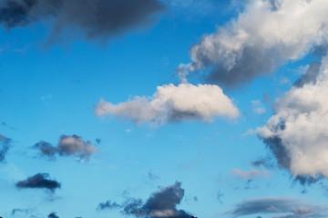 Nuvole di diverso tipo, grandezza  e colore in un cielo azzurro
