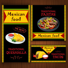 Mexican traditional food on flat banners