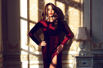 Fashionble woman in red dress