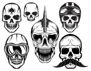 set of six different skulls for design