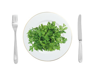 Parsley on white plate isolated on white