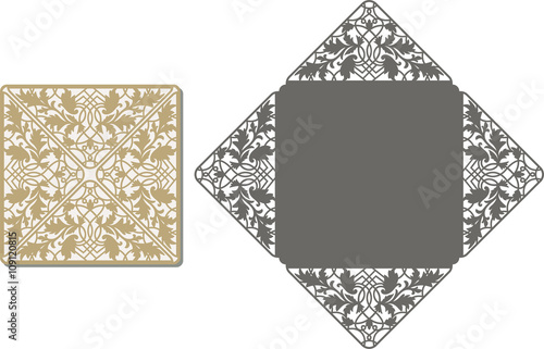 Paper Cut Out Card. Laser Cut Pattern For Invitation Card For