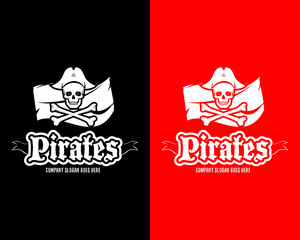 Red and black Pirates Skull logotype template, badge, logo, emblem. Isolated pirate logotype vector illustration.