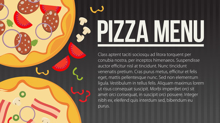Flat style. Pizza card menu. Vector illustration.