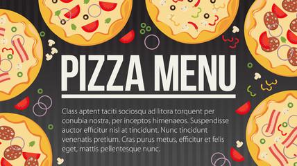 Flat style. Pizza card menu. Vector illustration.
