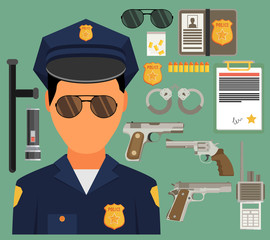 Vector illustration with policeman. Flat style.