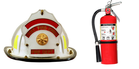 Fire Extinguisher and Firefighter hat isolated