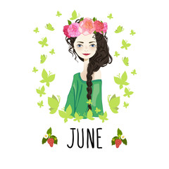 """""""June"""" vector illustration. Beautiful girl and flowers."""