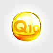 Q10 coenzyme icon vitamin drop gold pill capsule