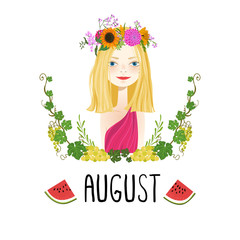 """August"" vector illustration. Beautiful girl and flowers"