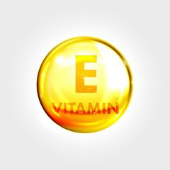 Vitamn E icon drop gold pill capsule