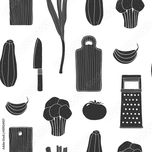 Kitchen Utensils Wallpaper hand drawn black and white seamless pattern for kitchen. repeating