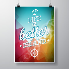 Life is better on the island inspiration quote on abstract color background. Vector typography design element for greeting cards and posters.