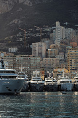 Yachts at moorage in port