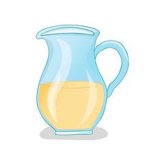 Vector glass jug in cartoon style