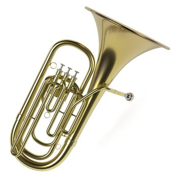 3d rendering of tuba musical instrument