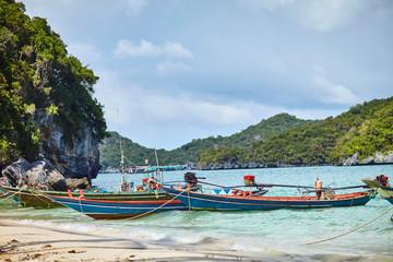 boats at tropical beach, Thailand