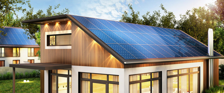 Solar panels on a modern house