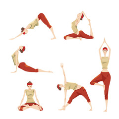 Set of yoga poses. Vector illustrations in cartoon style.