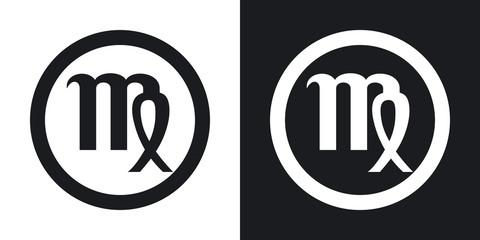 Zodiac sign Virgo. Two-tone version on black and white backgroun
