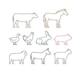 Vector line set of farm animals