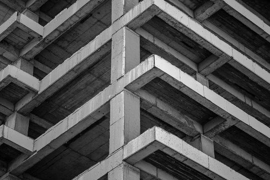 Modern concrete building structure under construction