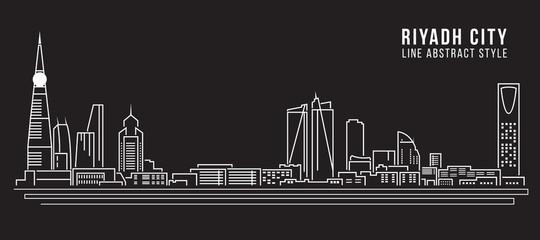 Cityscape Building Line art Vector Illustration design - Riyadh city