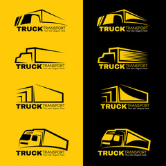 Black and yellow truck transport logo vector design