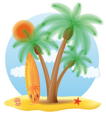surfboard standing under a palm tree vector illustration